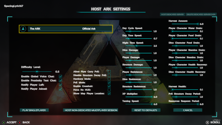 Ark dedicated server difficulty setting d