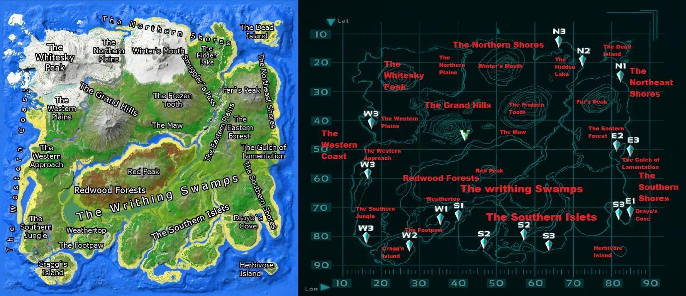 Ark Island Map Spawning Locations
