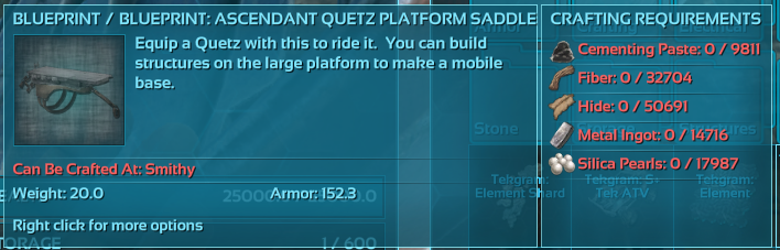 Unable to craft blueprint requires too many resources pc ark quetz saddle bpg malvernweather Image collections