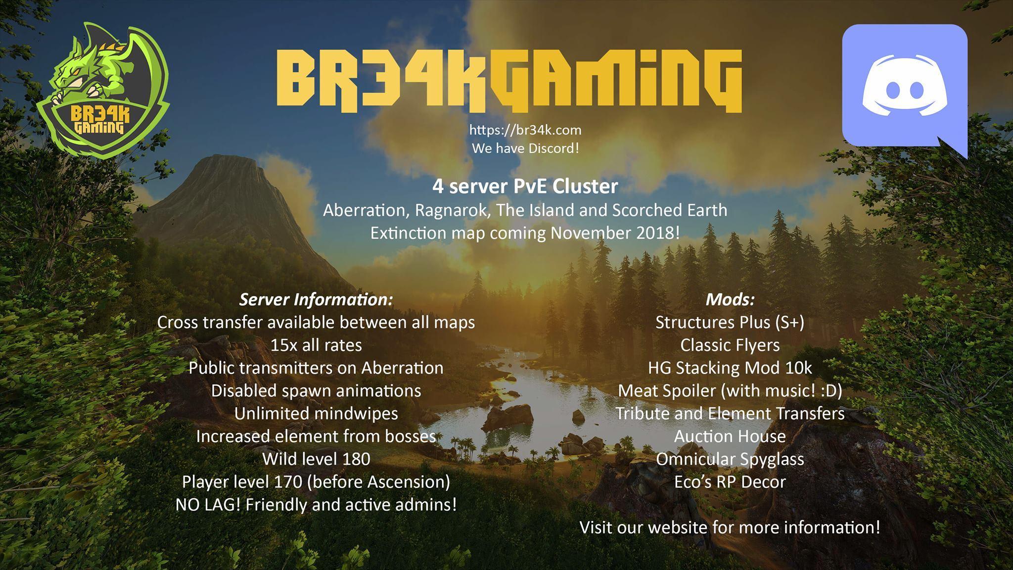 pve] BR34K GAMING 4 Server PvE Cluster (PC) - Server Advertisements