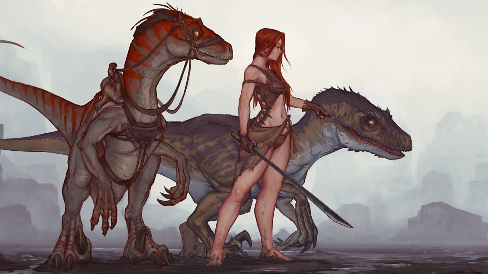 Girl With raptors in ark.jpg